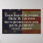 Cita de Jefferson en libertad y tiranía Póster