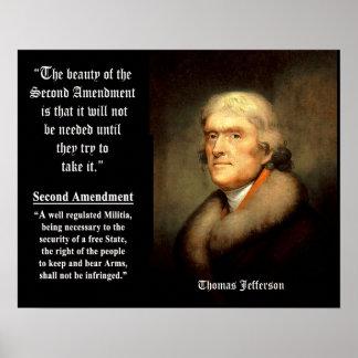Cita de Jefferson - la belleza de la 2da enmienda Posters