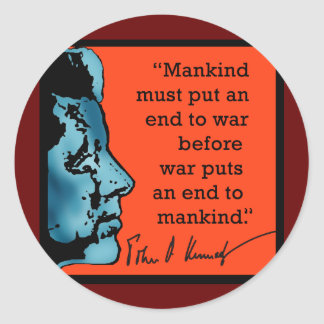 Cita de JFK sobre guerra Pegatinas Redondas
