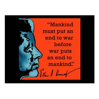 Cita de JFK sobre guerra Tarjeta Postal
