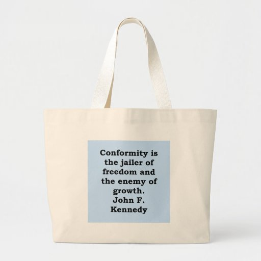 cita de John F. Kennedy Bolsa Tela Grande