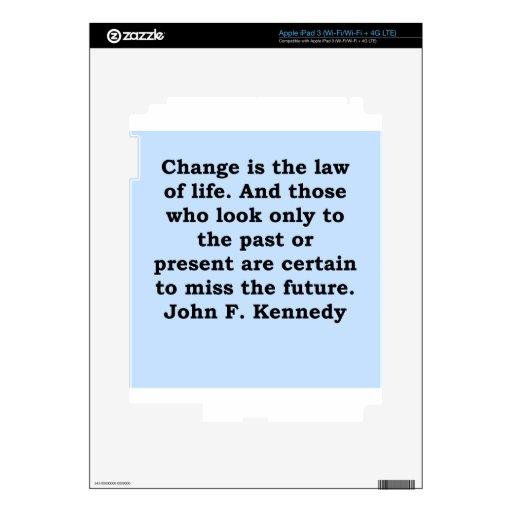 cita de John F. Kennedy iPad 3 Skin