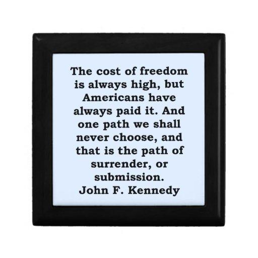 cita de John F. Kennedy Joyero Cuadrado Pequeño