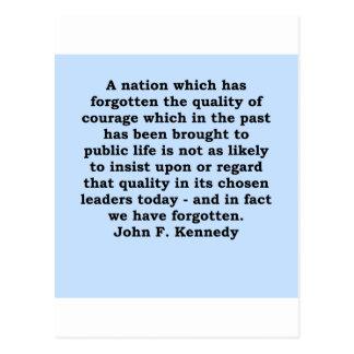 cita de John F. Kennedy Tarjeta Postal