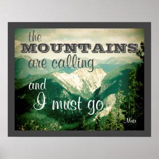 cita de John Muir del poster que las montañas