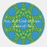Cita de Juana de Arco con diseño asombroso Pegatina Redonda
