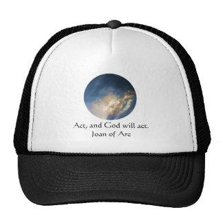 Cita de Juana de Arco con las nubes del cielo azul Gorras