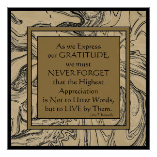 Cita de Kennedy en gratitud Posters