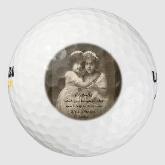 Cita de la amistad de las novias del vintage pack de pelotas de golf