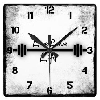 Cita de la aptitud: Elevación viva del amor Reloj Cuadrado