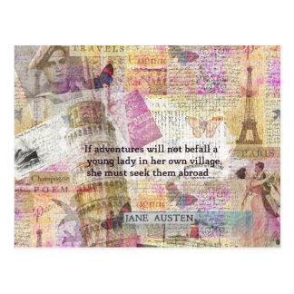 Cita de la aventura del viaje de Jane Austen Tarjeta Postal