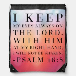 Cita de la biblia del 16:8 del salmo mochilas