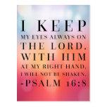 Cita de la biblia del 16:8 del salmo tarjeta postal