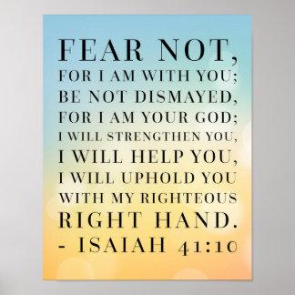Cita de la biblia del 41:10 de Isaías Póster