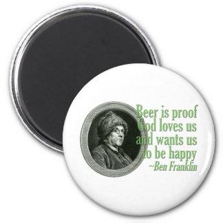 Cita de la cerveza de Franklin Imán Redondo 5 Cm