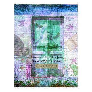 Cita de la CONFIANZA del amor de Shakespeare Postales