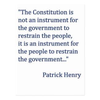 Cita de la constitución de Patrick Henry Tarjetas Postales