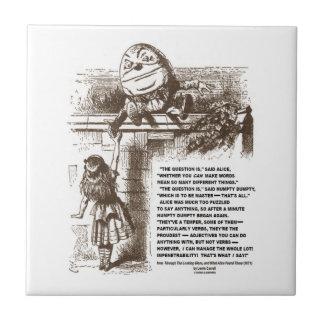Cita de la conversación de Alicia Humpty Dumpty de Azulejo Cerámica