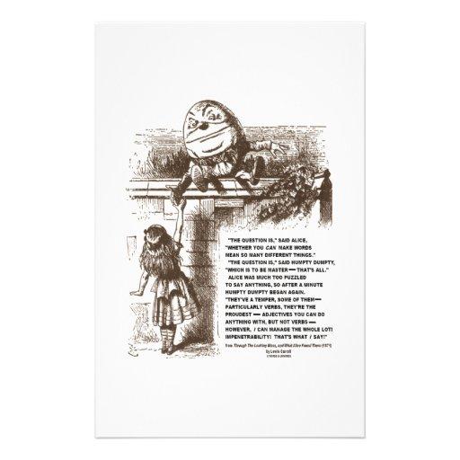 Cita de la conversación de Alicia Humpty Dumpty de Papeleria