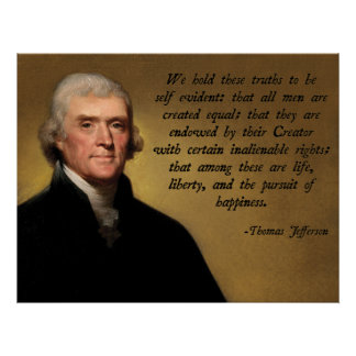 Cita de la Declaración de Independencia Póster