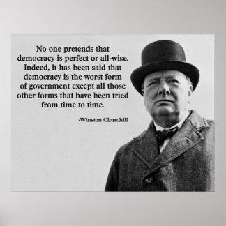 Cita de la democracia de Winston Churchill Póster