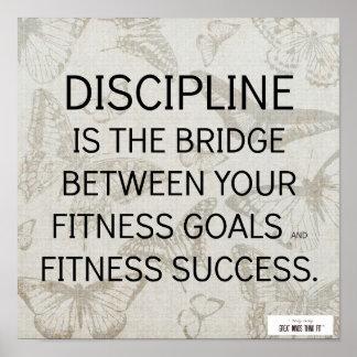 Cita de la disciplina para el éxito de la aptitud póster