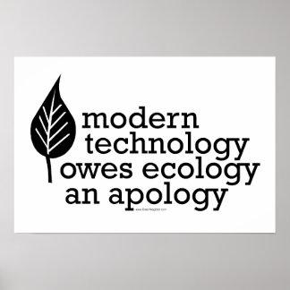 Cita de la ecología/de la tecnología póster