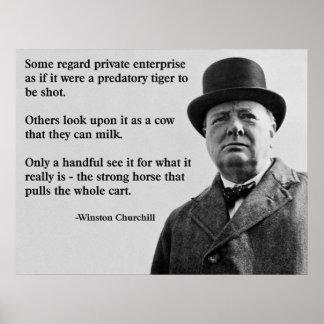 Cita de la empresa libre de Churchill Póster