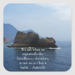 Cita de la excelencia de Aristóteles Pegatina Cuadradas