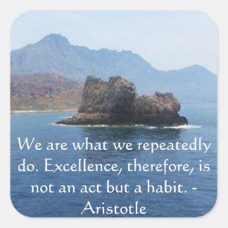 Cita de la excelencia de Aristóteles Pegatina Cuadrada