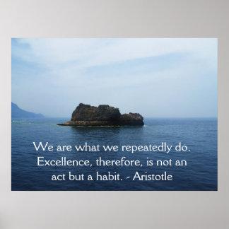 Cita de la excelencia de Aristóteles Póster