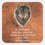 Cita de la familia de la pista del lobo de la pegatina cuadrada