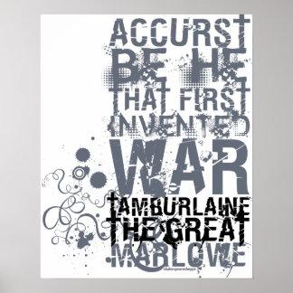 Cita de la guerra de Tamburlaine B W Poster