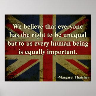 Cita de la igualdad de Margaret Thatcher Póster