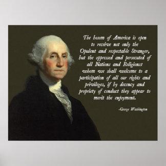 Cita de la inmigración de George Washington Póster