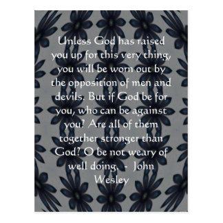 Cita de la inspiración de John Wesley con diseño a Tarjetas Postales