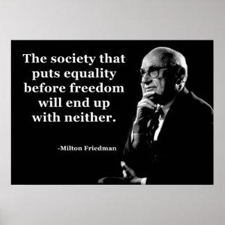 Cita de la libertad de la igualdad de Milton Fried Posters