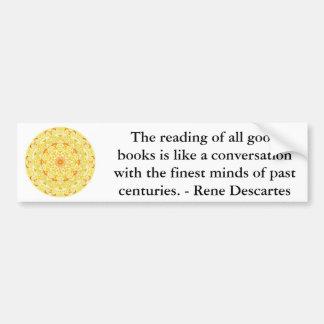 Cita de la literatura de Rene Descartes Pegatina Para Auto