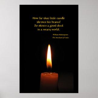 Cita de la llama de vela de Shakespeare Póster