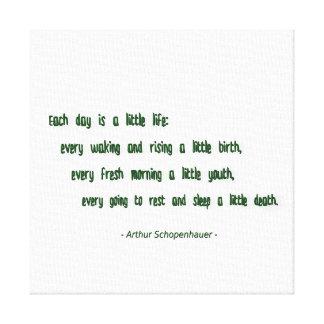 Cita de la mañana de Arthur Schopenhauer Lona Estirada Galerias