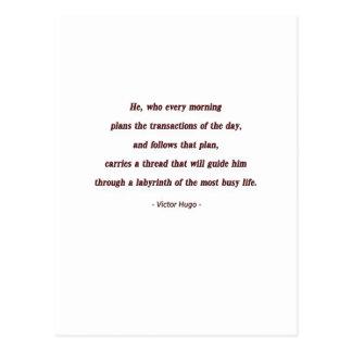 Cita de la mañana de Victor Hugo - él, que cada… Tarjeta Postal