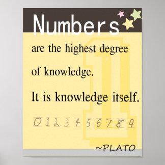 Cita de la matemáticas por Platón Poster