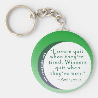 Cita de la motivación para los ganadores llavero personalizado