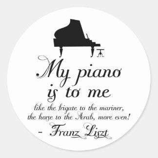 Cita de la música clásica del piano de Liszt Pegatina Redonda