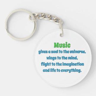 Cita de la música - la música da un alma a uni… llavero redondo acrílico a una cara