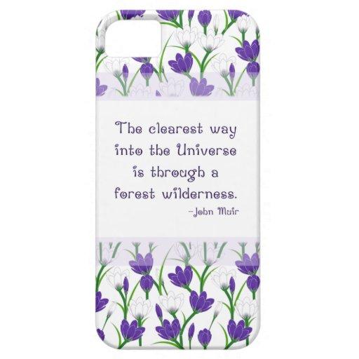 Cita de la naturaleza de John Muir con las flores  iPhone 5 Funda