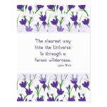 Cita de la naturaleza de John Muir con las flores Postal