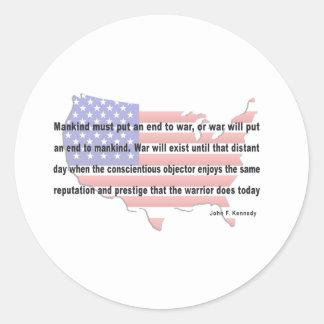 Cita de la paz de JFK Etiqueta Redonda
