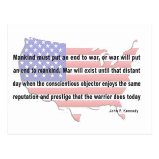 Cita de la paz de JFK Postales
