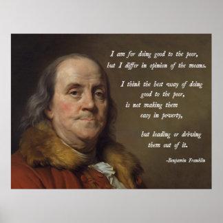 Cita de la pobreza de Franklin Póster